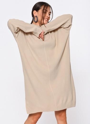 Loves You Yarım Balıkçı Yırtmaçlı Triko Elbise Taş